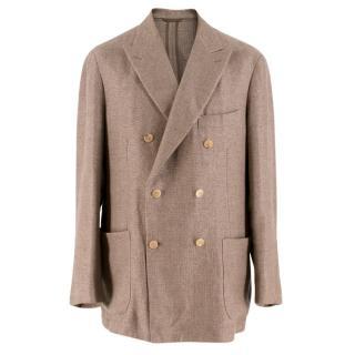 Doriani Brown Canapa & Wool-blend Weaved Blazer