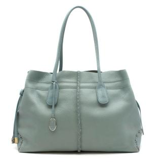 Tod's Duck Egg Green Leather Tote Bag