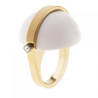 May mOma Gea Ring W/ White Semisphere