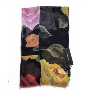Dolce & Gabbana Sheer Rose Print Wrap Scarf