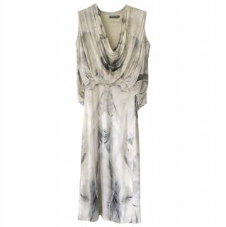 Alexander Mcqueen moth print draped dress