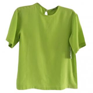 Equipment lime-green crepe blouse