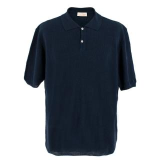 Autori Capresi Navy Knit Polo Top