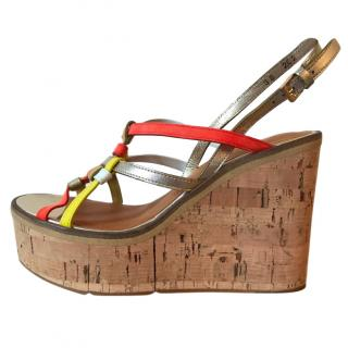Robert Clegerie Multi-Colour Leather Wedge Sandals
