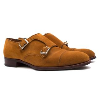 Hardy Amies Tan-brown Suede Double Monk Shoes