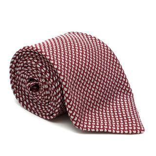Brioni Red Printed Silk Tie - Hand Made