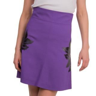 Just Cavalli Purple Mini Skirt W/ Floral Applique