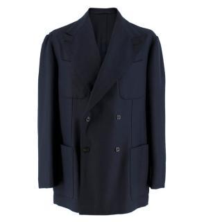 Sciamat for The Rake Navy Herringbone Wool Jacket