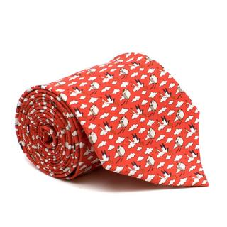Hermes Red Bird Express Silk Tie