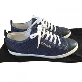 Chanel Blue Quilted Denim Sneakers