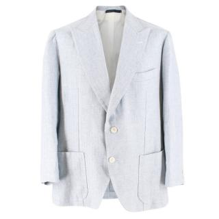 Gianni Volpe Light Blue Herringbone Single Breasted Blazer