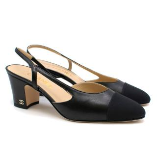 Chanel Black Leather Slingback Block Heels
