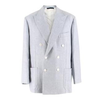 Gianni Volpe Light Blue Herringbone Double Breasted Blazer