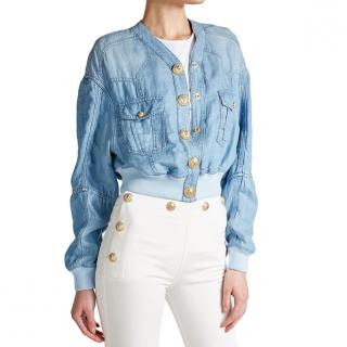 Balmain Denim Bomber Jacket with Embossed Buttons