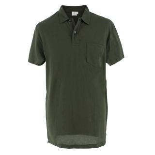 Sunspel Green Knit Polo Top