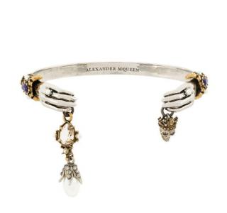 Alexander Mcqueen Skeleton Hands Pearl & Skull Charm Bracelet