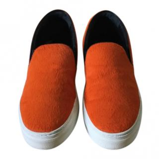 Celine Ponyskin Orange Skater Shoes