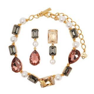 Oscar de la Renta Crystal And Faux Pearl Choker & Earrings Set