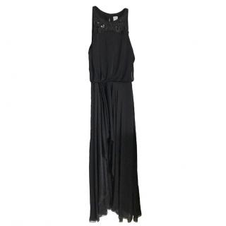Halston Heritage Black Silk Blend Sequin Embellished Gown