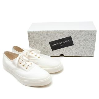 Maison Kitsune White Canvas Laced Sneakers