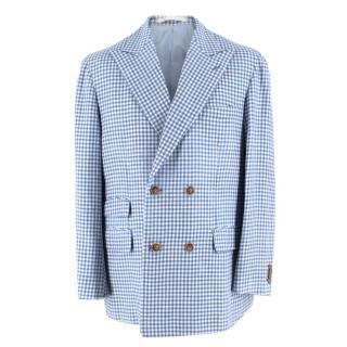 Zerbino Blue & White Gingham Check Blazer