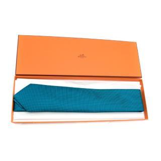 Hermes Navy & Turquoise Jacquard Silk Tie