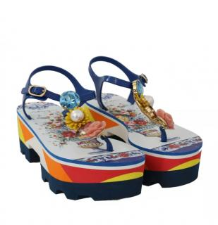 Dolce & Gabbana Sicily Majolica floral vase print sandals