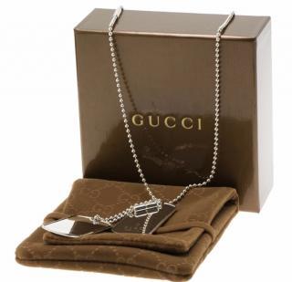 Gucci Silver Dog Tag Necklace