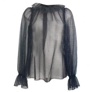 Dolce & Gabbana transparent black ruffle blouse