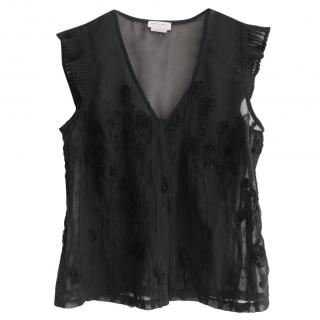 Dries Van Noten 3-D floral applique black top