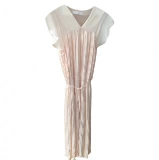See by Chloe pleated-chiffon pink dress