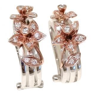 Bespoke diamond encrusted floral hoop earrings