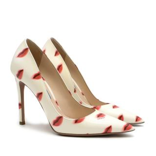 Prada White Lips-print Leather Pump
