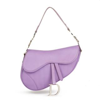 Dior Lilac Leather Saddle Bag