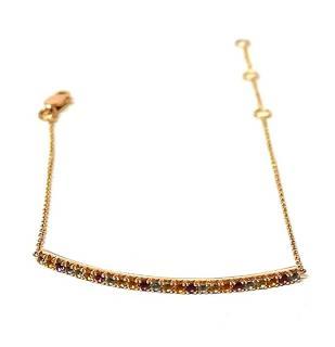 Bespoke 14ct Rose Gold Gemstone Bar Bracelet