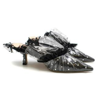 Midnight 00 Black Crystal-embellished Tulle & PVC Mules