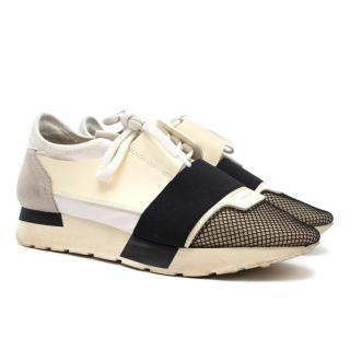 Balenciaga White Race Runner Elasticated Leather Sneakers