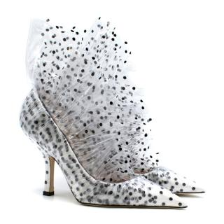 Midnight 00 White Polka Dot Tulle & PVC Pumps