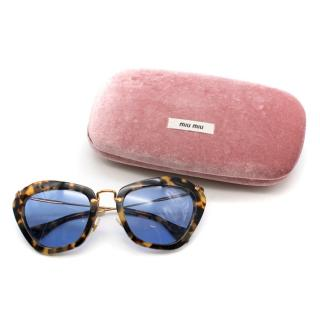 Miu Miu Leopard Print Cat-eye Sunglasses