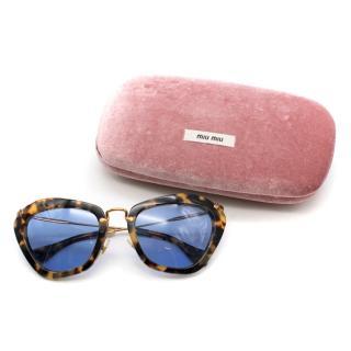 Miu Miu Leopard Print Cat-eye Sunglasses