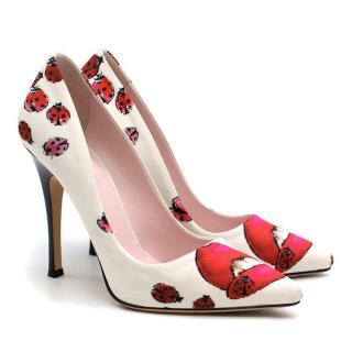 Giamba White Lip & Ladybug Print Pump