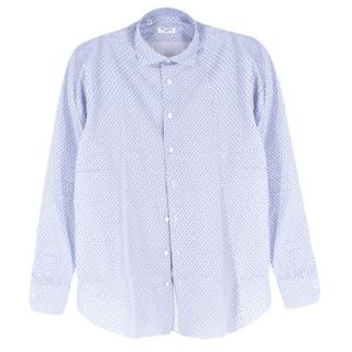 Cesare Attolini Blue & White Printed Cotton Shirt