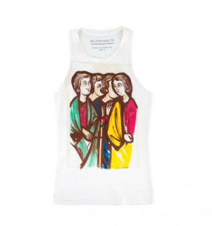 Balenciaga White Printed Tank Top