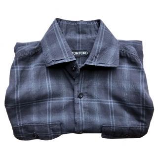 Tom Ford Men's Grey Plaid Shirt