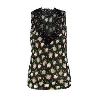 Dolce & Gabbana Floral Print Semi-sheer Knit Top