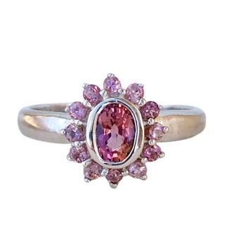 Bespoke 9ct White Gold Pink Tourmaline Cluster Ring