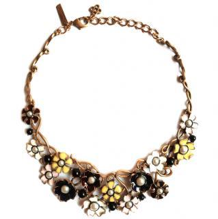 Oscar de la Renta floral-enamel necklace