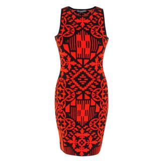 Alexander McQueen Black & Red Jacquard Knit Mini Dress