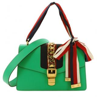 Gucci Sylvie Green Leather Small Shoulder Bag