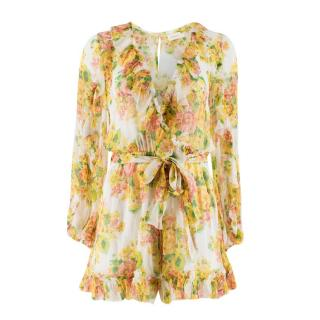 Zimmermann Golden Ruffled Silk-georgette Playsuit